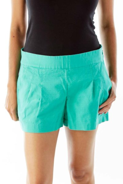 Turquoise Pleated Shorts