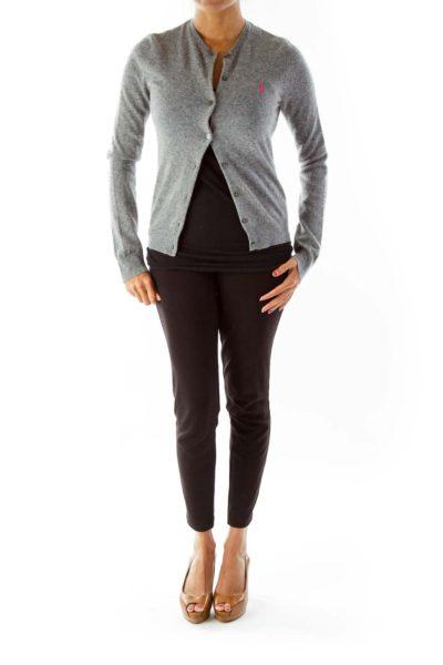 Gray Buttoned Merino Wool Cardigan