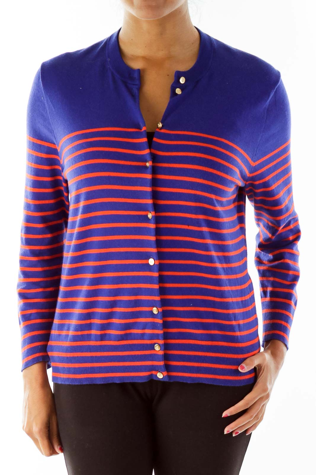 Blue Orange Striped Cardigan - SilkRoll