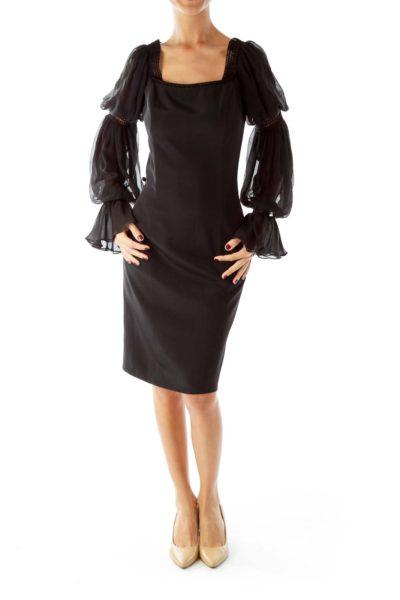 Black Evening Dress with Net Detail