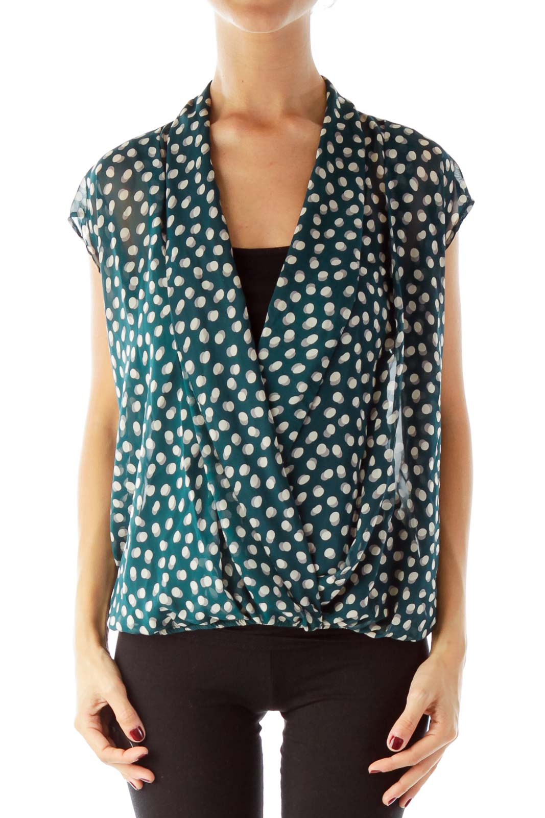 Green Beige Polka-Dot Blouse