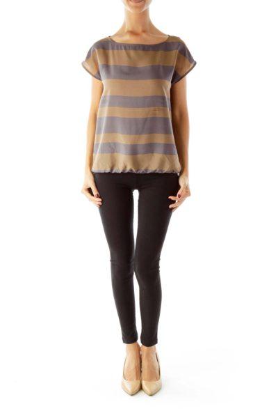 Brown Gray Striped Shirt