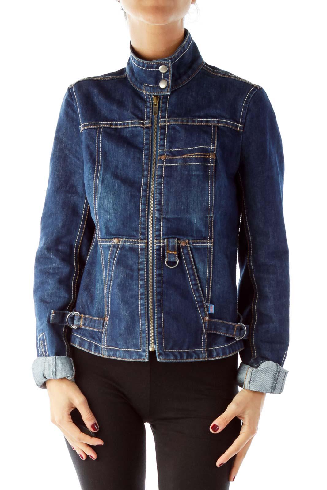 Blue Denim Zippered Jacket