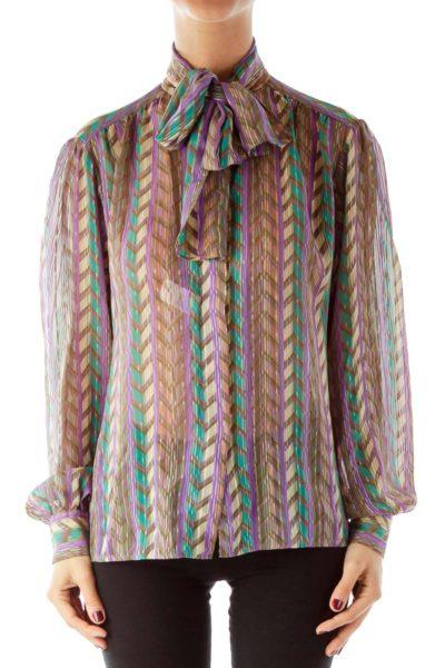 Multicolor Geometric Vintage Blouse