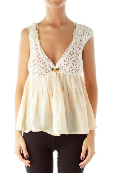 Cream Peach Knit Blouse