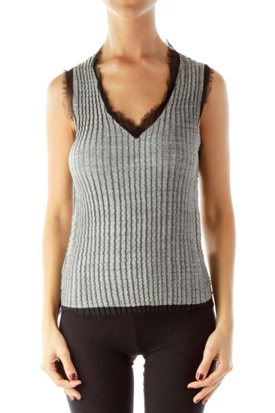 Gray Fitted Tank Top With Black Fringe