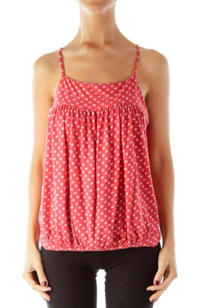 Red Printed Tank Top