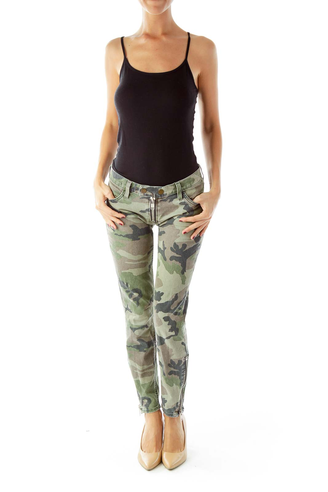 Green Camouflage Slim-Fit Jeans