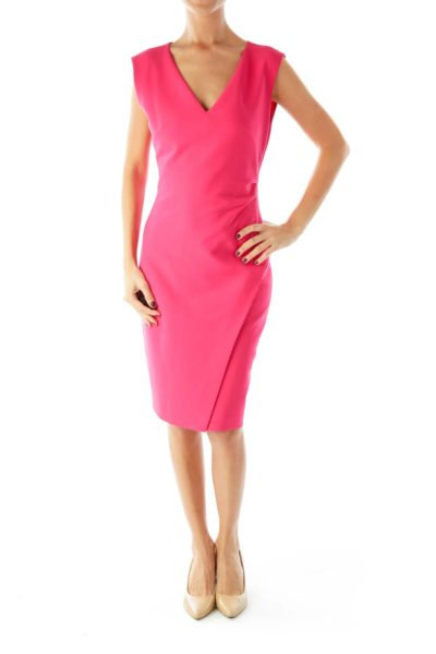 Pink Sleeveless Fitted Dress