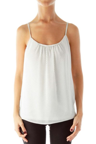 Cream Black Polka-Dot Tank Top