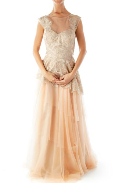 Gold Beige Evening Gown