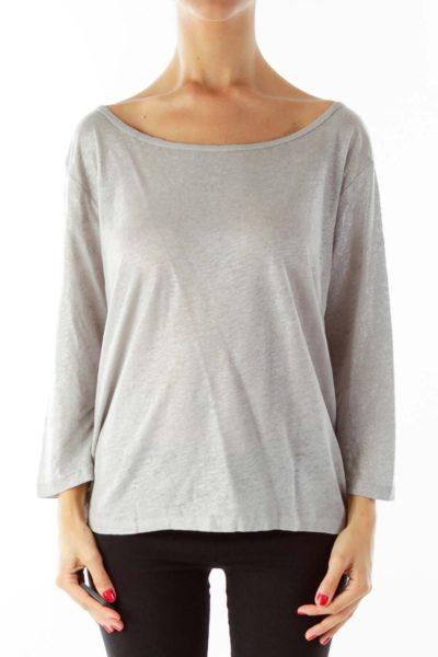 Gray Silver Linen Sparkle Shirt