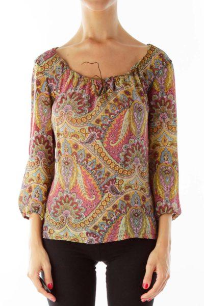 Multicolor Paisley Silk Blouse