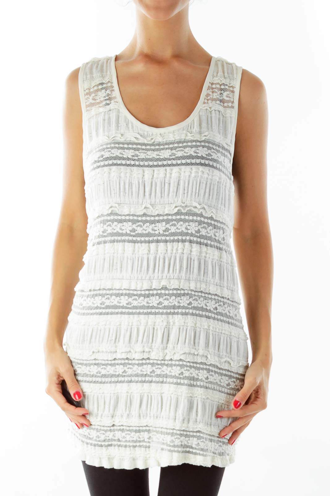 Creme Lace Loose Tank Top