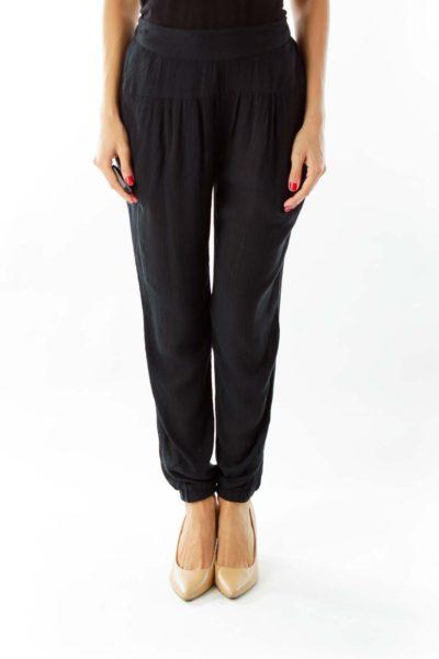 Black Crpe Textured Pants