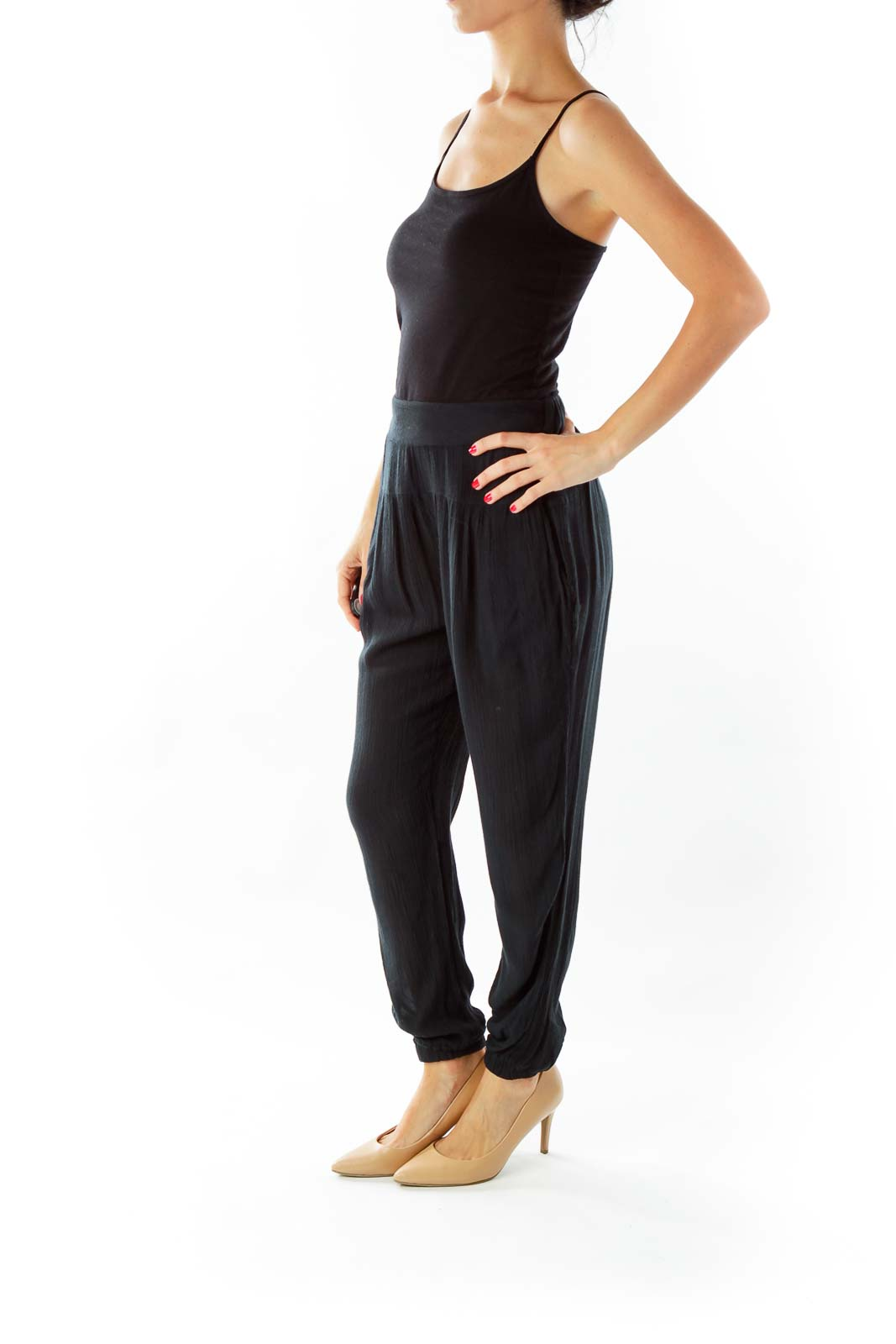 Black Crêpe Textured Pants