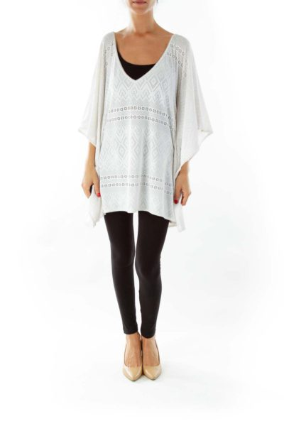 White Lace Bat-Sleeve Top