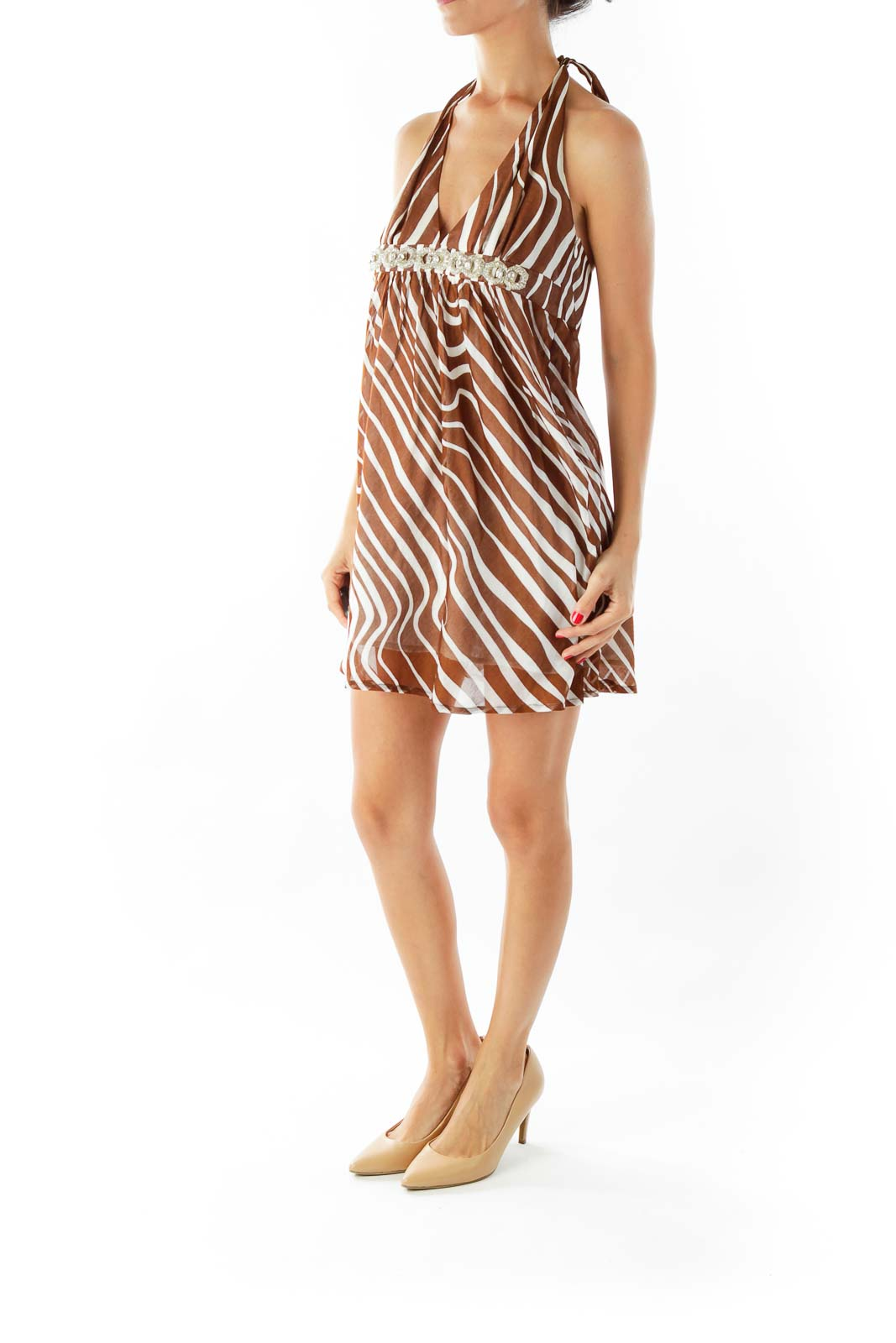 Brown Creme Zebra Print Halter Dress