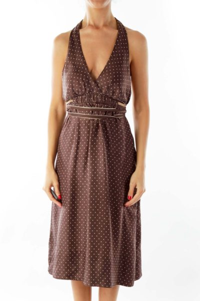 Silk Brown Halter Dress