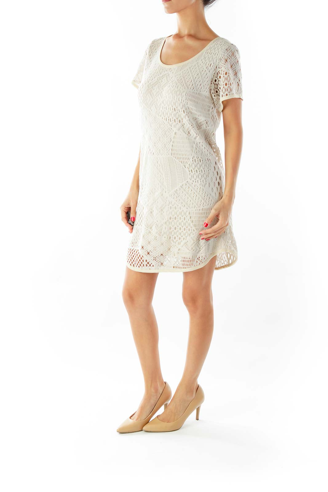 Beige Mini Net Dress