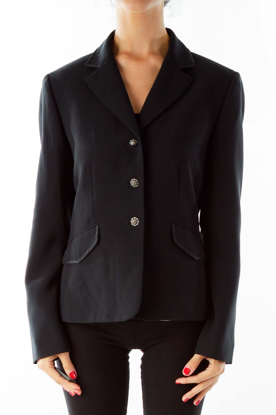 Black Petite Pocketed Blazer