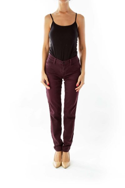 Burgundy Skinny Jeans*