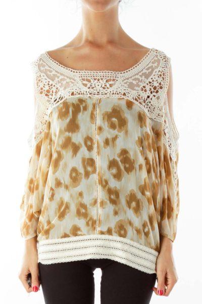 Brown Cream Lace Cold Shoulder Blouse