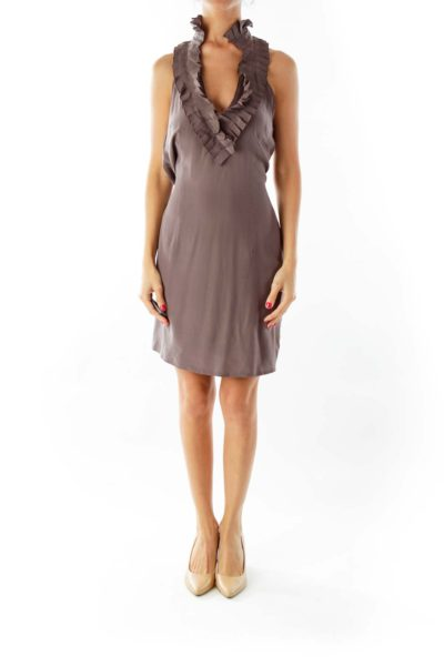 Brown Ruffled Halter Dress