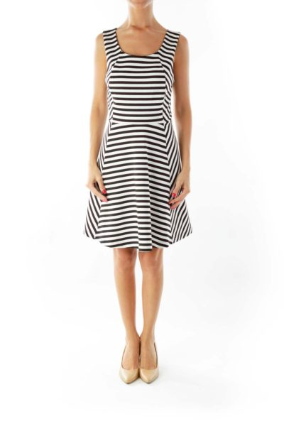 Black White Striped Flared Dress