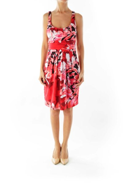 Red Floral Print Cocktail Dress