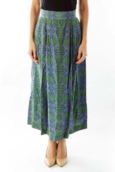 Blue Green Printed Skirt
