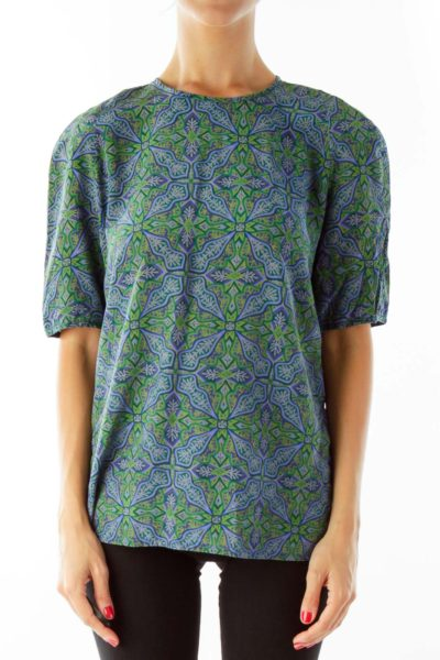 Blue Green Printed Blouse
