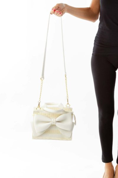 Beige & White Bow Shoulder Bag