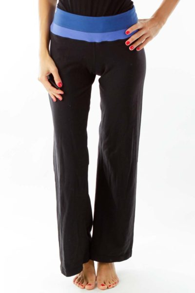 Black Blue Straight Leg Sports Pants