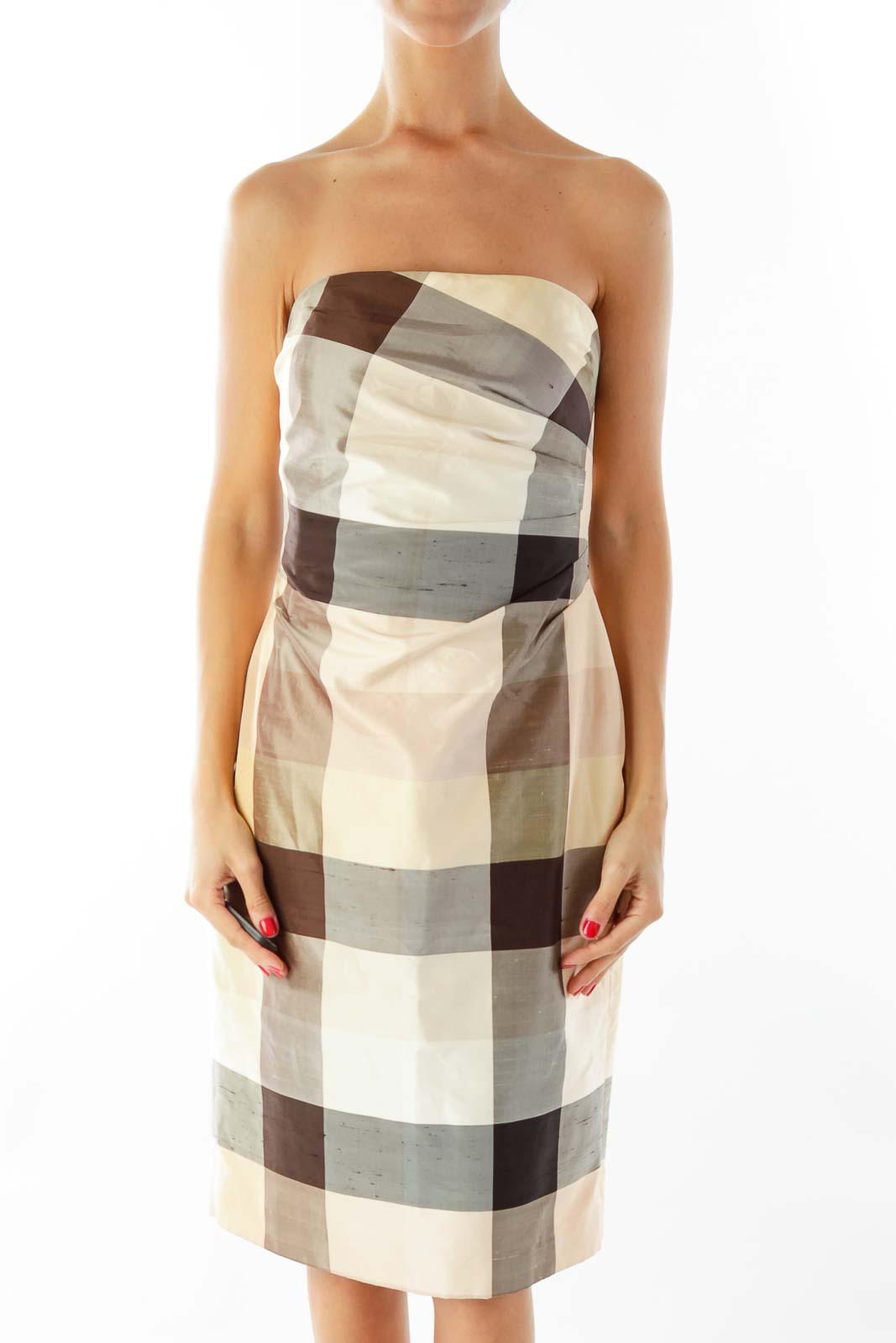 Beige Brown Plaid Strapless Dress
