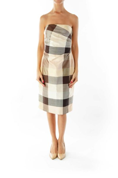 Beige Brown Plaid Strapless Dress