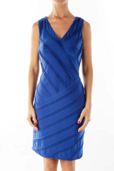 Blue V-neck Textured Fitted Dress