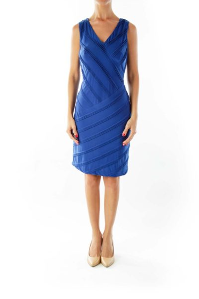 Blue V-neck Textured Fitted Dress