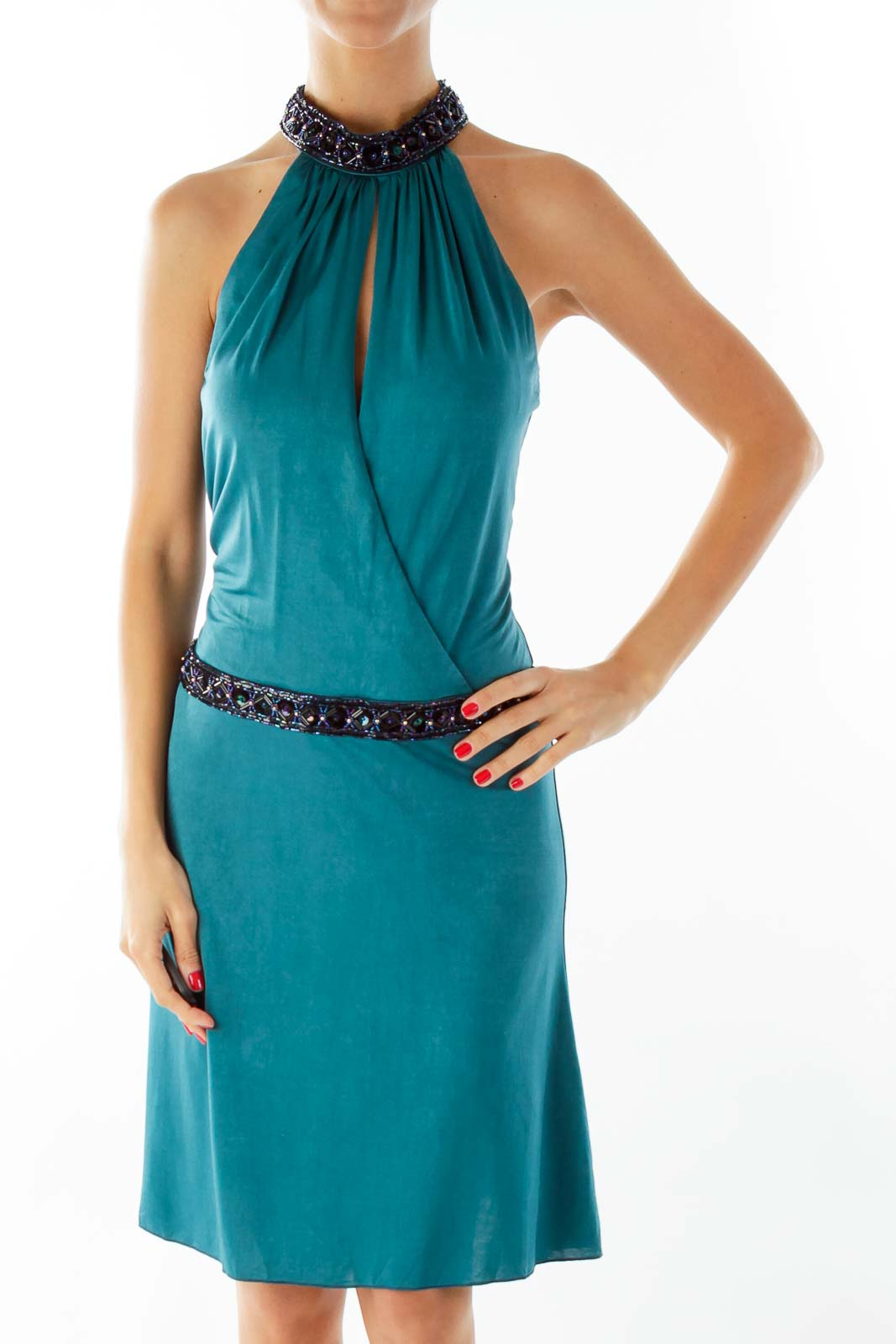 Teal Green Beaded Cocktail Dress
