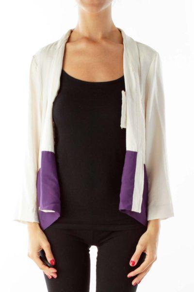 Beige Purple Cropped Lightweight Jacket