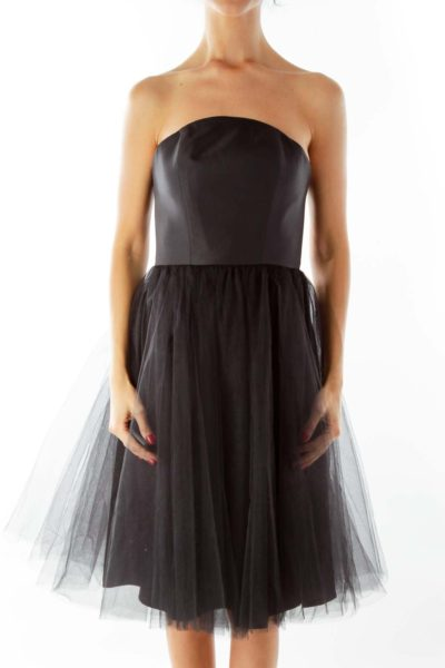 Black Tulle Strapless Dress