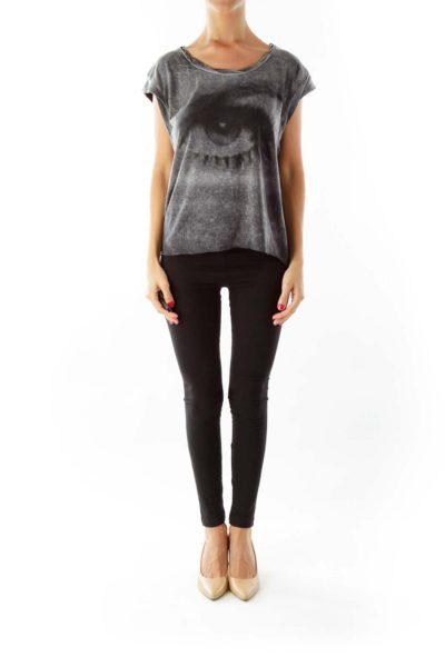 Black Gray Sleeveless Print Shirt
