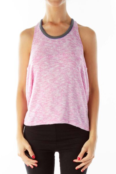 Pink Mottled Knit Tank Top