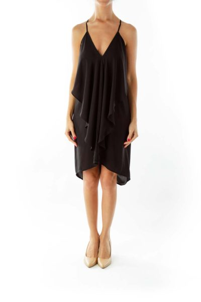 Black Ruffled Drape Cocktail Dress