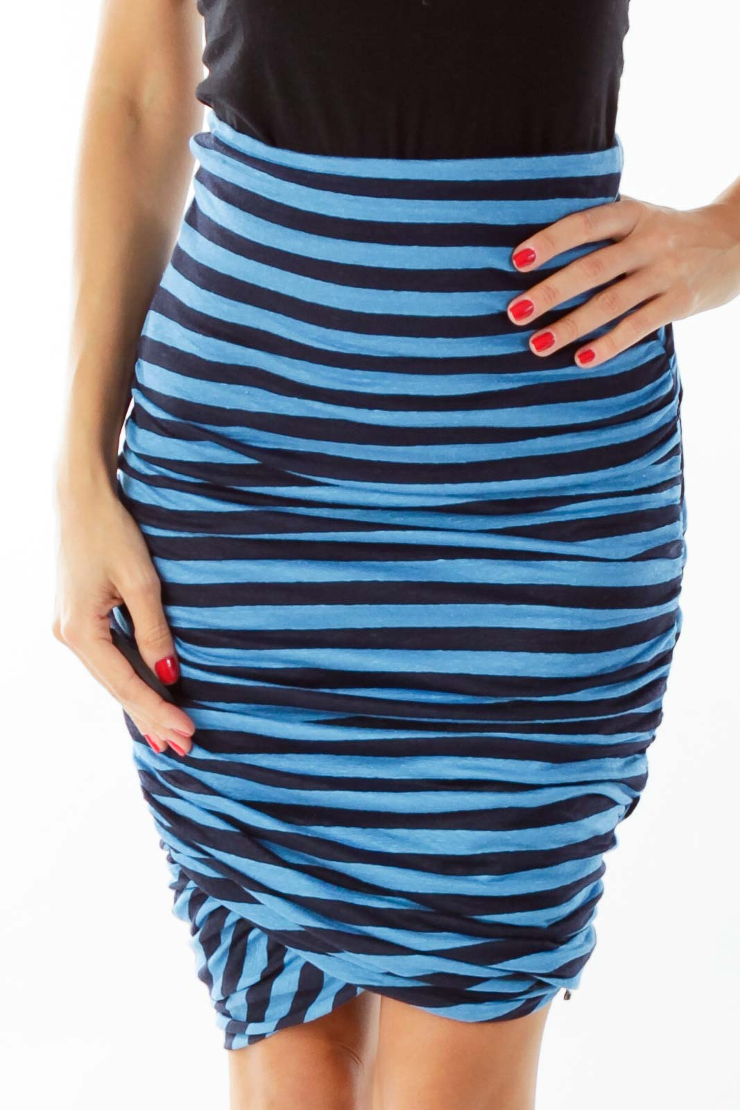 Blue Black Fitted Strapless Dress