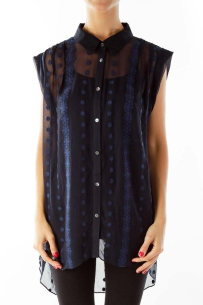 Black Blue Sheer Embroidered Sleeveless Blouse