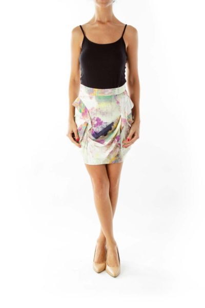 Multicolor Draped Skirt