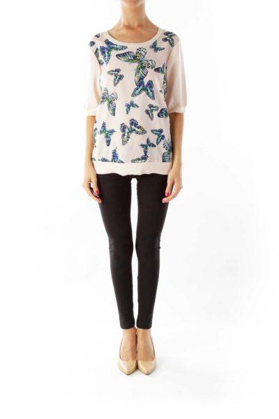 Pink Blue Butterfly Print Knit T-Shirt