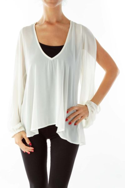 Cream Sheer Loose Blouse