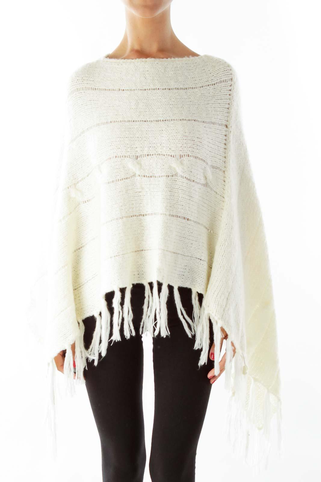 Cream Knit Poncho